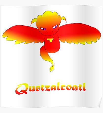 Open Wing Quetzalcoatl Red Poster