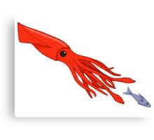 Red Squid Chase Canvas Print
