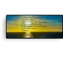 Bible Verse Matthew 7:7-8 Canvas Print