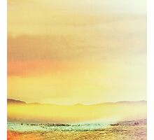 Bold Yellow Bright Yellow Sunset, Abstract Desert Water Scape #redbubble Photographic Print
