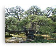 Japanese garden and pagoda Canvas Print