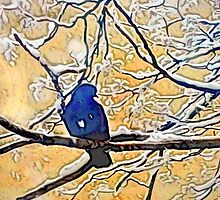 Bird On Snowy Branch #4 by Mark Ross