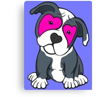 Love Hearts American Pit Bull Terrier Puppy  Canvas Print