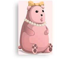 Cute Little Pink Teddy Bear with Bow Tie Canvas Print