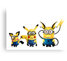 Pichu, Pika and Raichu minion Canvas Print