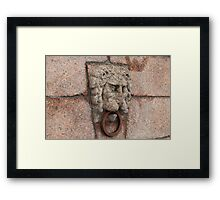 granite lion's head with an iron ring  Framed Print