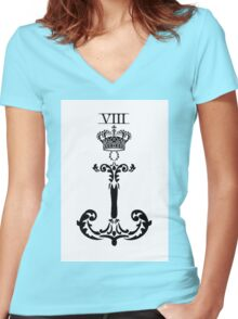 KNEEL TO THE CROWN / WHITE Women's Fitted V-Neck T-Shirt