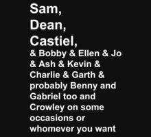 Sam, Dean, Castiel, &... by pickledoatmeals