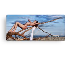 Sexy and attractive girl on the beach Canvas Print