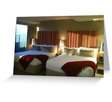 Double Hotel Beds Greeting Card