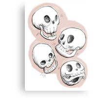 Four Skulls in Pastel Pink Metal Print