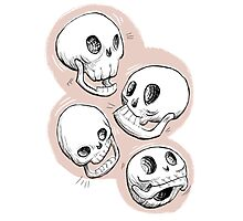 Four Skulls in Pastel Pink Photographic Print