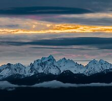 Olympic Mountains Sunset by Jim Stiles