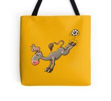Donkey Shooting a Soccer Ball Tote Bag