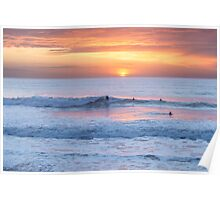 Surfing the sunset at Watergate Bay, Cornwall, UK Poster