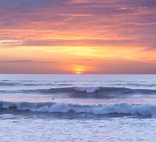 unset waves at Watergate Bay, Cornwall, UK by Zoe Power