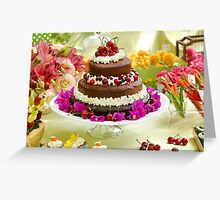 Layer cake decorated with whipped cream and cherries. Greeting Card