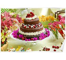 Layer cake decorated with whipped cream and cherries. Poster