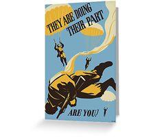 WWII VINTAGE PARATROOPER Greeting Card