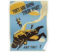 WWII VINTAGE PARATROOPER Poster