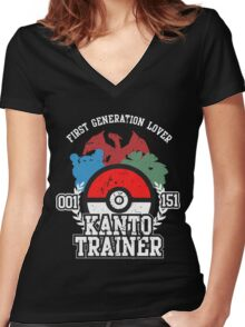 1st Generation Trainer (Dark Tee) Women's Fitted V-Neck T-Shirt