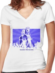 Rolodex Propaganda Women's Fitted V-Neck T-Shirt