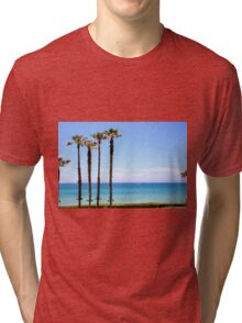 Palm trees on a beach. Photographed on the Mediterranean shore Tri-blend T-Shirt