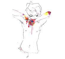 Semi-nude boy; illustration, watercolour Photographic Print