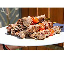 Grilled red meat skewers  Photographic Print