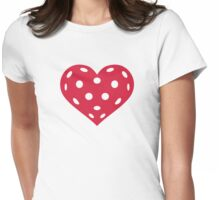 Floorball red heart Womens Fitted T-Shirt