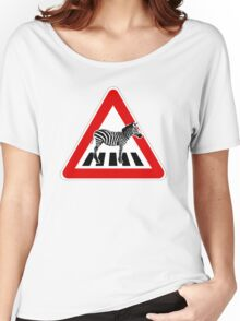 Attention Zebra on crosswalk Women's Relaxed Fit T-Shirt