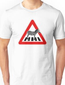 Attention Zebra on crosswalk Unisex T-Shirt