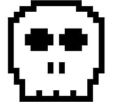 White Retro 8-bit Skull Photographic Print