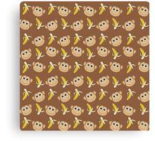 Monkey and Banana Pattern Canvas Print