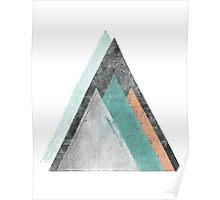 Aqua and Coral Mountains Poster