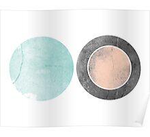 Circles Aqua and Coral Geometric Print Poster