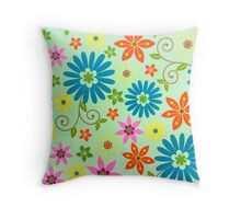 Funky Vintage Flowers Throw Pillow