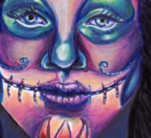 Serenity-Mixed Media Drawing of a Day of the Dead Girl Sticker
