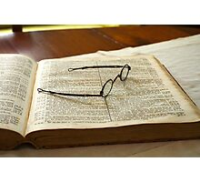 Book and Glasses Photographic Print
