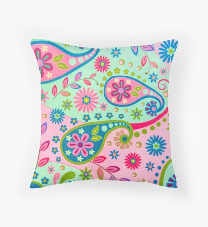 Psychedelic Vintage Funky Texture Throw Pillow