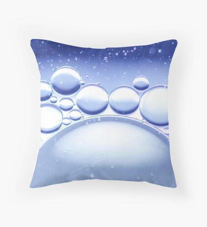 Blue Water Bubbles Macro Throw Pillow