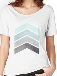 Ice Blue Chevrons Women's Relaxed Fit T-Shirt