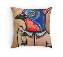 Blue Bird Babe Throw Pillow