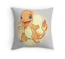 Charmander Splatter Throw Pillow