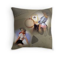 Sexy Pinup Collage Cowgirls at the Movies Throw Pillow
