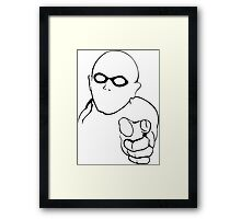 warning superhero Framed Print