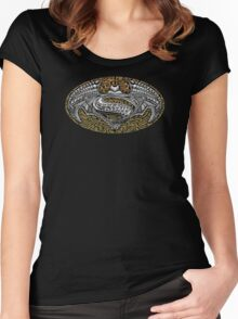 Super Bat Aztec Pattern pencils sketch Women's Fitted Scoop T-Shirt