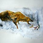 Grizzly Bear Fishing For Salmon Fine Art Print Of Acrylic Painting by JamesPeart