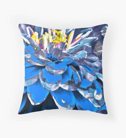 Abstract blue flower Throw Pillow