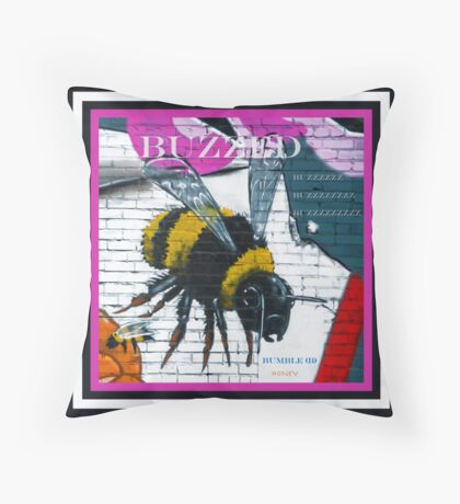 Buzzed Bumble Bee Throw Pillow